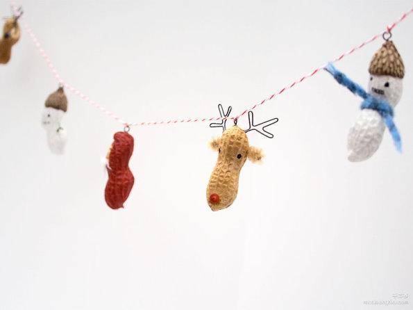 创意家居小饰品; 花生除了吃外,也可化身为漂亮的艺术装饰品,为圣诞节
