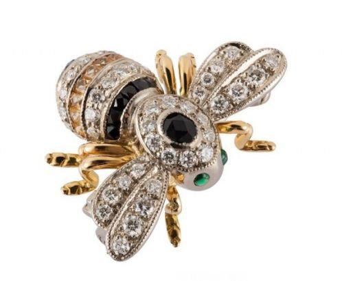 珠宝经典复古系列黄金镶钻石蓝宝石蜜蜂胸针;; 萌态可掬动物珠宝配饰